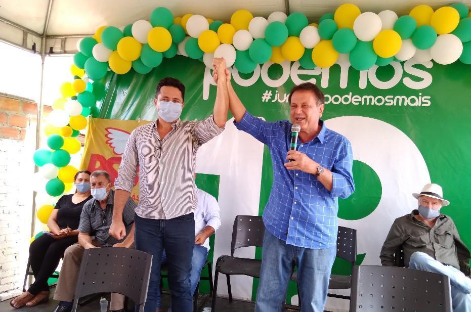 Professor e vereador Marcelo Mendonça (PSB) e o prefeito de Catalão, Adib Elias (Podemos)/Reprodução.