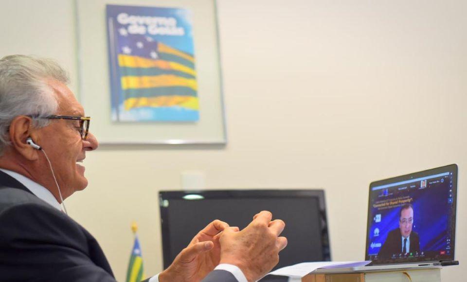 Governador Ronaldo Caiado apresenta benefícios da rede 5G na agricultura goiana em webinar internacional: 'Temos trabalhado para uma produção pautada naquilo que o mundo exige de nós, ou seja, qualida