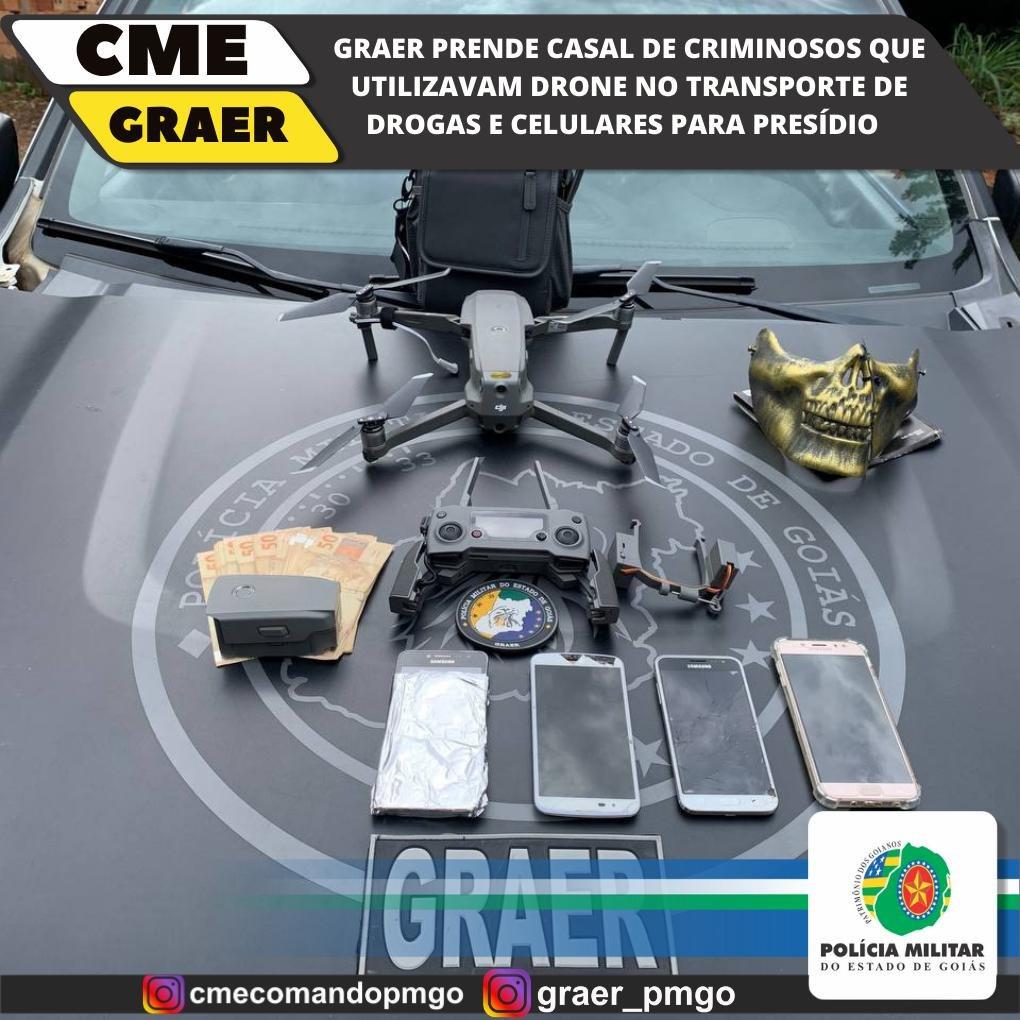 Drogas, armas de fogo, um drone utilizado para repasses de drogas e celulares foram apreendidos pela operação da PM