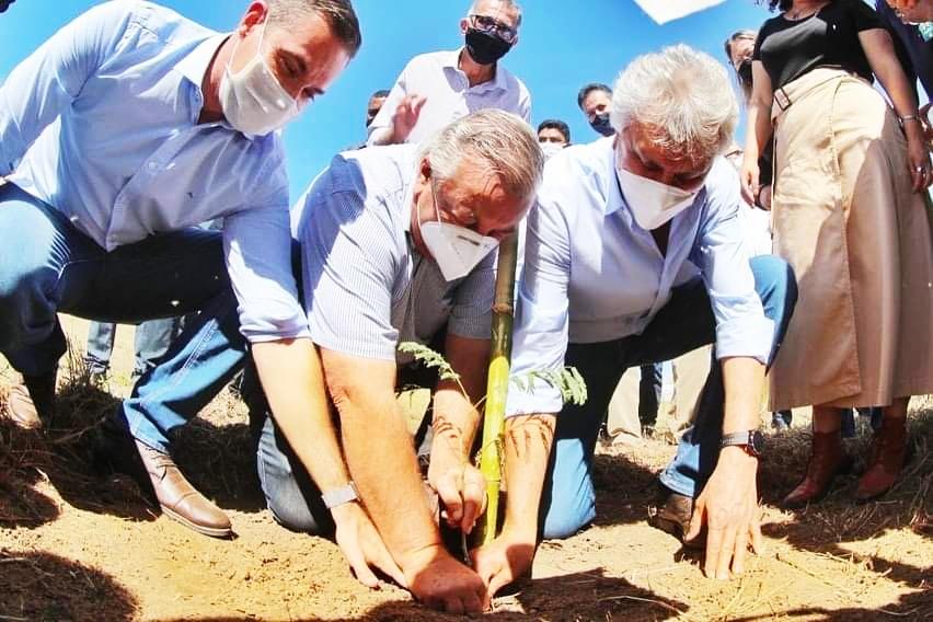 Em Santa Rita do Araguaia, governador Ronaldo Caiado, ao lado da secretária de Meio Ambiente, Andréa Vulcanis, planta muda nativa às margens do rio e comemora ações do programa Juntos pelo Araguaia